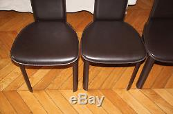6 Chaises chairs Design ROCHE BOBOIS CANCAN Cuir Marron Chocolat Paypal Accepted