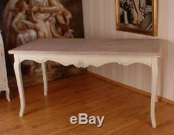 Incroyable Table Repas En Bois Blanc Patine Meuble Salle A Manger Style Shabby Chic  Baroque